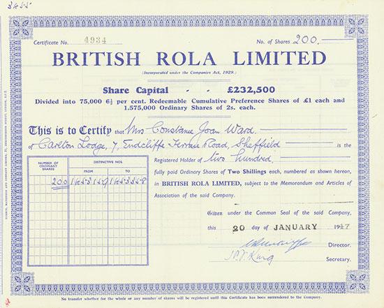 British Rola Limited