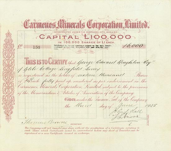 Carmenes Minerals Corporation, Limited