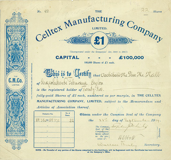 Celltex Manufacturing Company, Limited
