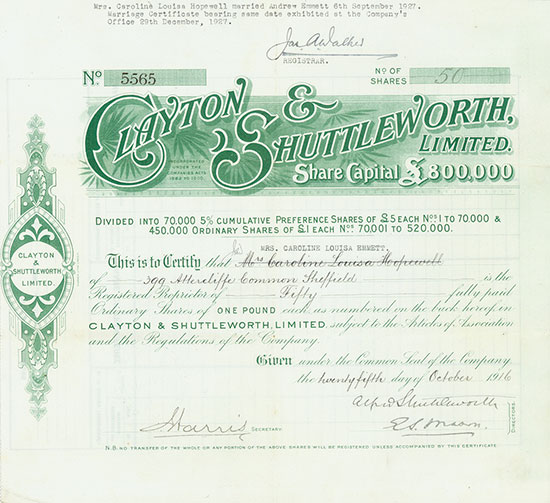 Clayton & Shuttleworth, Limited