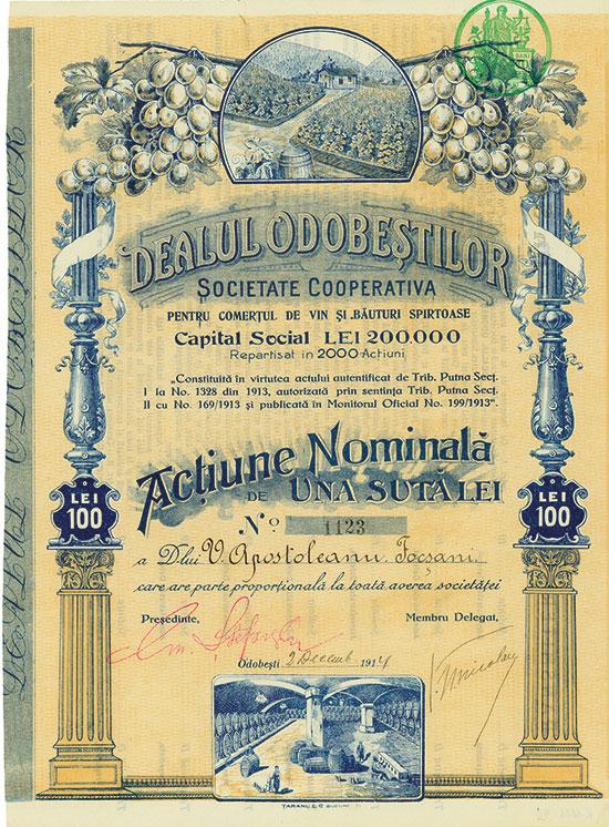 Dealul Odobestilor Societate Cooperativa pentru comertul de vin Si. Bäuturi Spirtoase