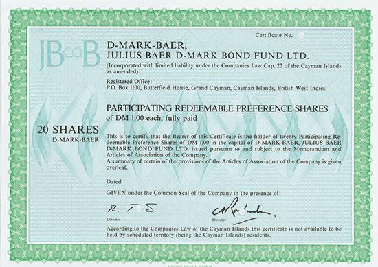 D-MARK-BAER, Julius Baer D-Mark Bond Fund Ltd.