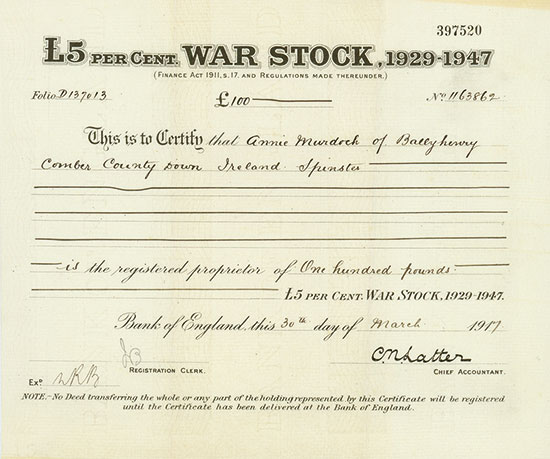 England - £5 per Cent War Stock, 1929 - 1947