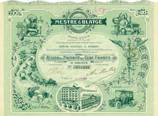 Etablissements Mestre & Blatgé Fournitures Générales pr. Automobiles & Cycles Société Anonyme