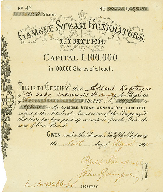 Gamgee Steam Generators, Limited