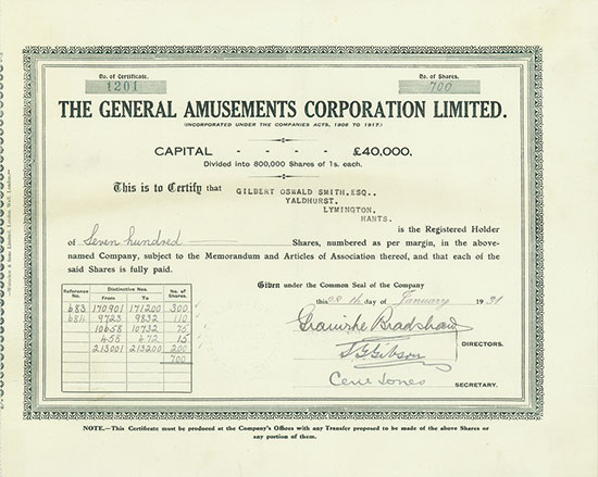 General Amusements Corporation Limited