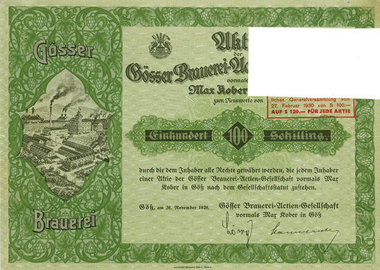 Gösser Brauerei-Actiengesellschaft vormals Max Kober