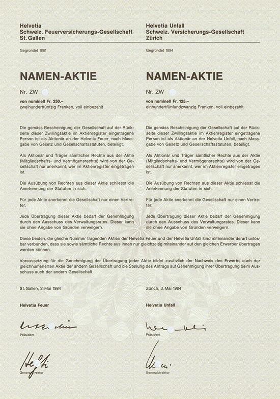 Helvetia Schweiz. Feuerversicherungs-Gesellschaft / Helvetia Unfall Schweiz. Verischerungs-Gesellschaft