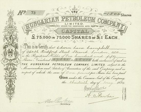 Hungarian Petroleum Company, Limited