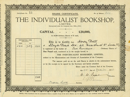 Individualist Bookshop, Limited