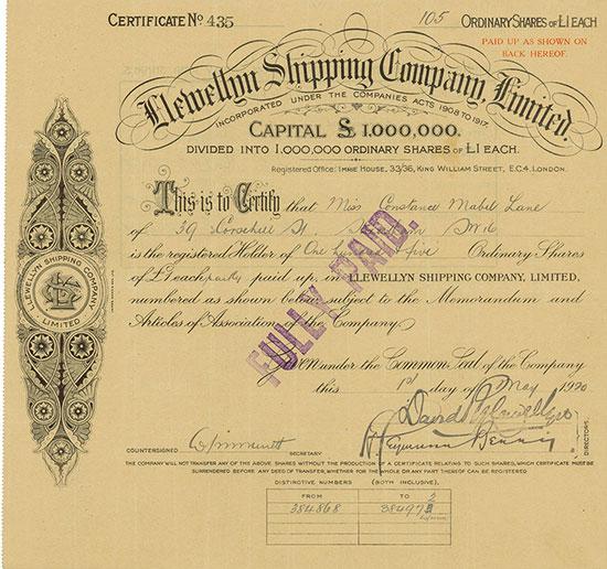 Llewellyn Shipping Company, Limited