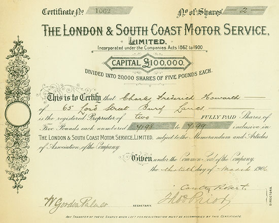 London & South Coast Motor Service, Limited