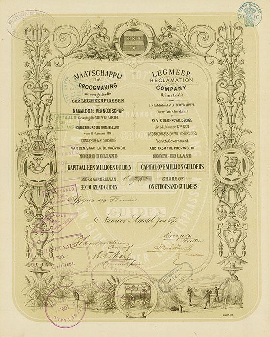 Maatschappij tot Droogmaking vaneen gedeelte der Legmeerplassen / Legmeer Reclamation Company (Limited)