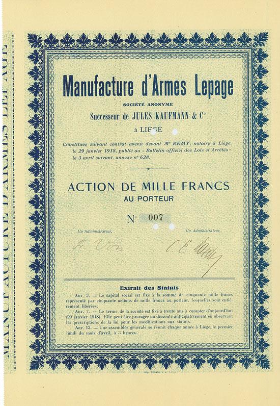 Manufacture d'Armes Lepage Société Anonyme - Successeur de Jules Kaufmann & Cie