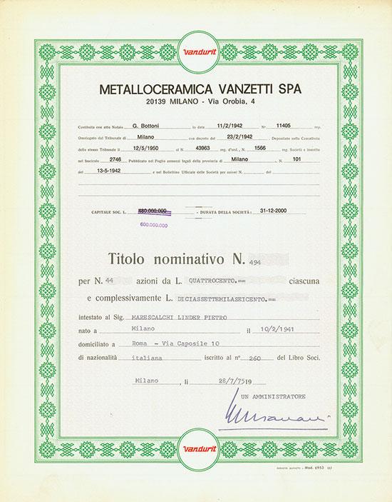 Metalloceramica Vanzetti SPA [2 Stück]