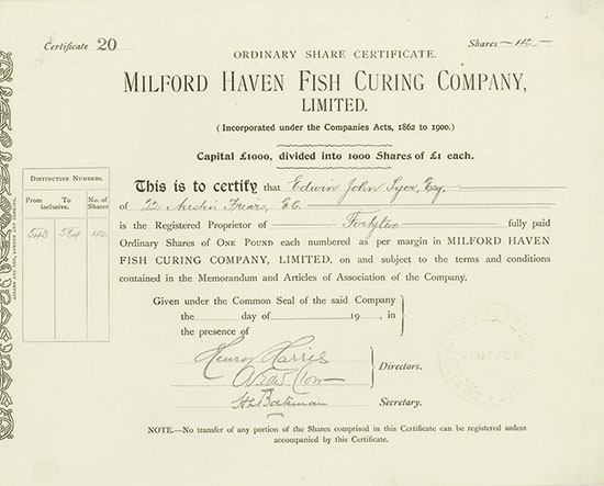 Milford Haven Fish Curing Company, Limited