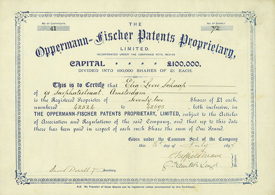 Oppermann-Fischer Patents Proprietary, Limited