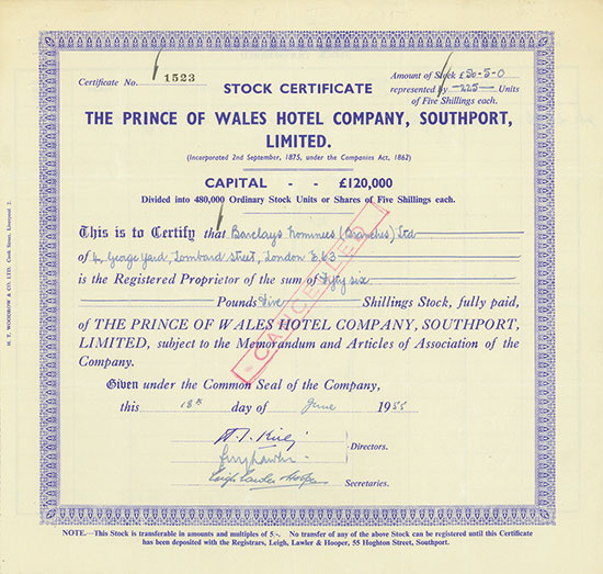 Prince of Wales Hotel Company, Southport, Limited