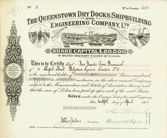 Queenstown Dry Docks, Shipbuilding and Engineering Company, Ltd.