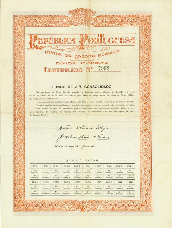 República Portuguesa - Junta do Crédito Público - Dívida Inscrita - Fundo de 3% Consolidado