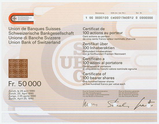 Schweizerische Bankgesellschaft / Union de Banques Suisses