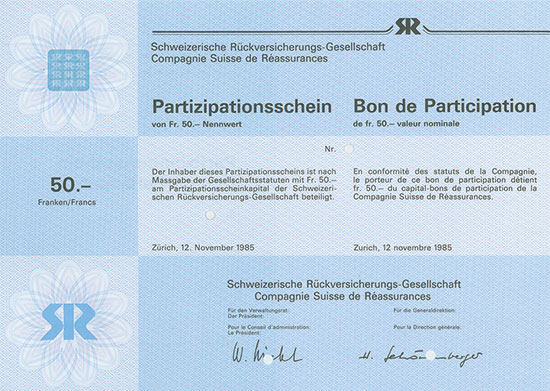 Schweizerische Rückversicherungs-Gesellschaft / Comapgnie Suisse de Réassurances
