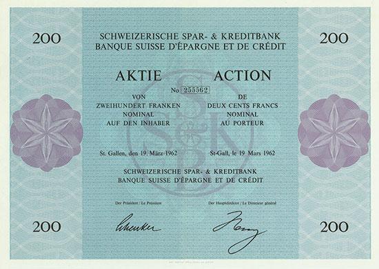 Schweizerische Spar- & Kreditbank / Banque Suisse d'Épargne et de Credit