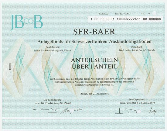 SFR-BAER Anlagefonds für Schweizerfranken-Auslandsobligationen