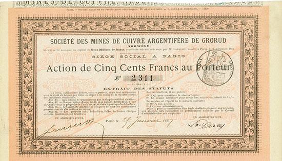 Société des Mines de Cuivre Argentifère de Grorud (Norwège)