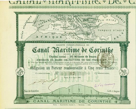 Société Internationale de Canal Maritime de Corinthe / Société Hellénique du Canal de Corinthe Société Anonyme [3 Stück]
