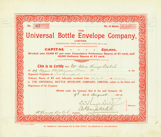 Universal Bottle Envelope Company, Limited