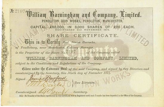 William Barningham and Company, Limited Pendleton Iron Works, Pendleton, Manchester