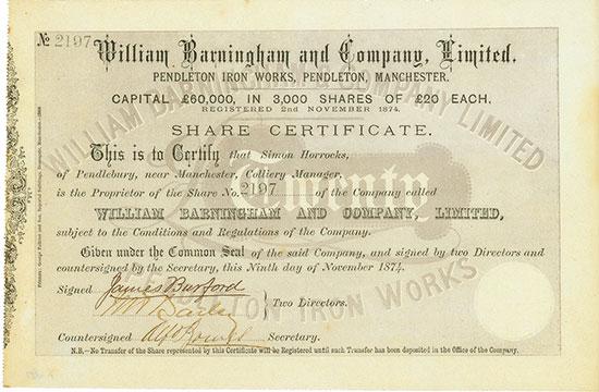 William Barningham and Company, Limited Pendleton Iron Works, Pendleton, Manchester