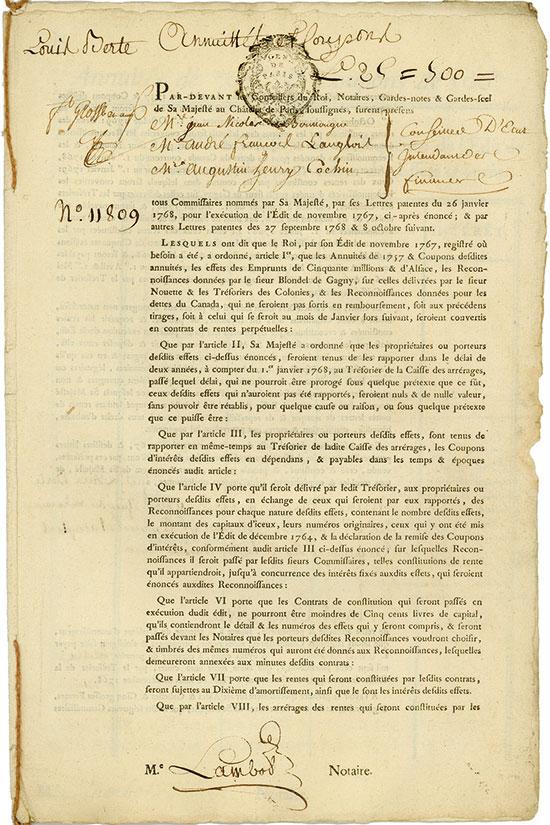 Rente Viagére - Edit de Novembre 1767