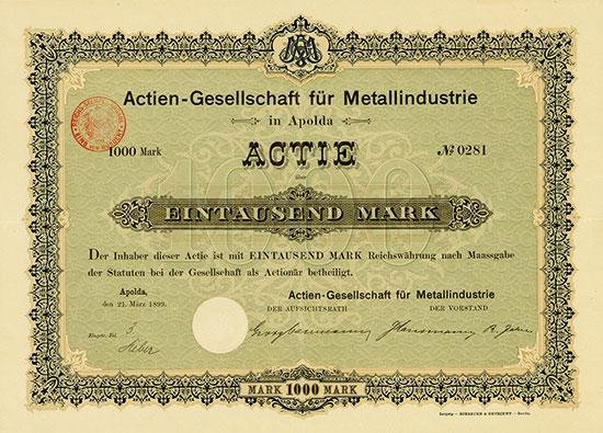 Actien-Gesellschaft für Metallindustrie in Apolda