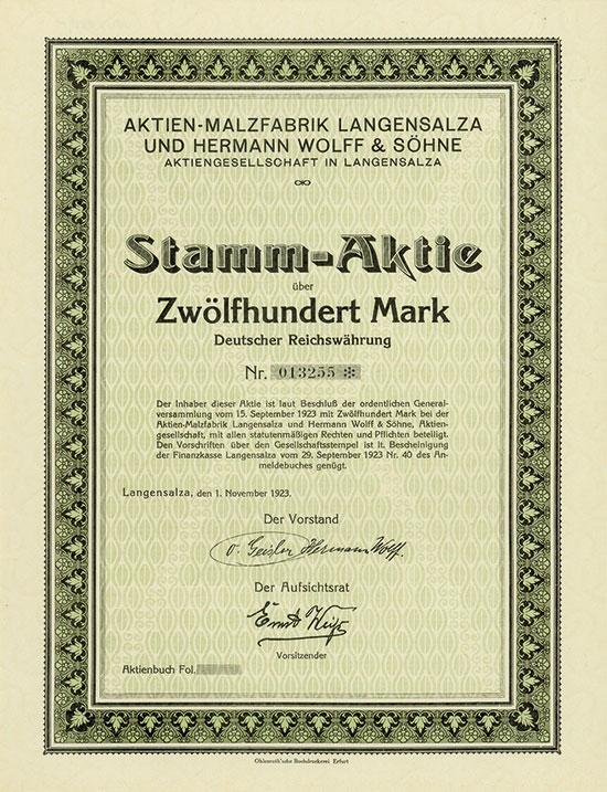 Aktien-Malzfabrik Langensalza und Hermann Wolff & Söhne AG
