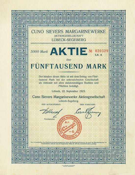 Cuno Sievers Margarinewerke AG