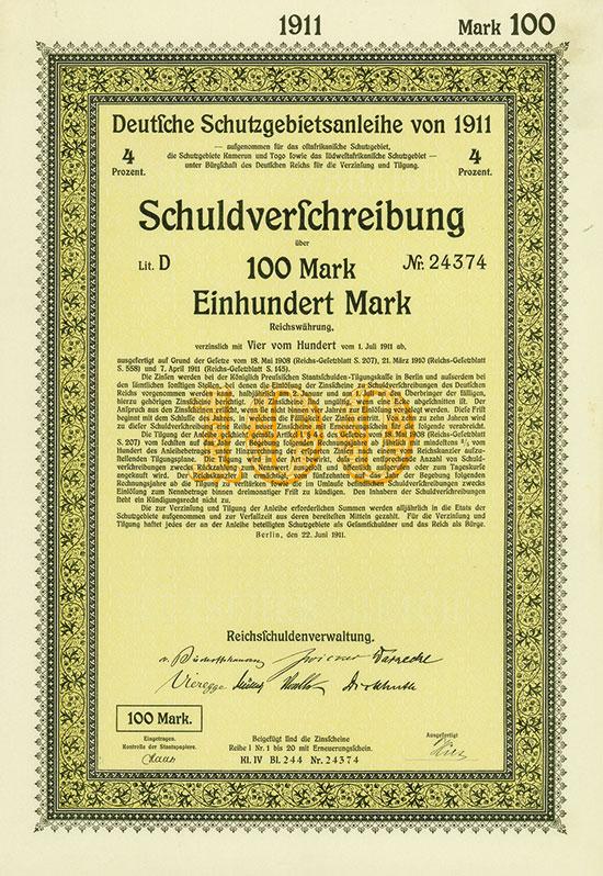 Deutsche Schutzgebietsanleihe von 1911