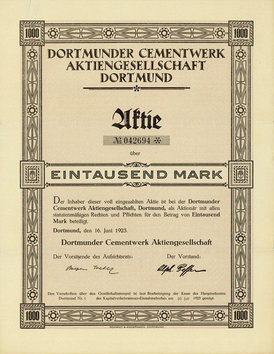Dortmunder Cementwerk AG [3 Stück]