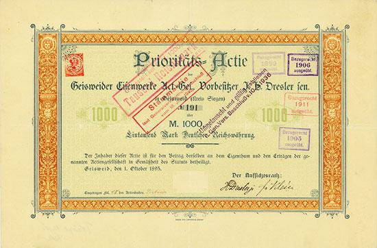 Geisweider Eisenwerke AG, Vorbesitzer J. H. Dresler sen.