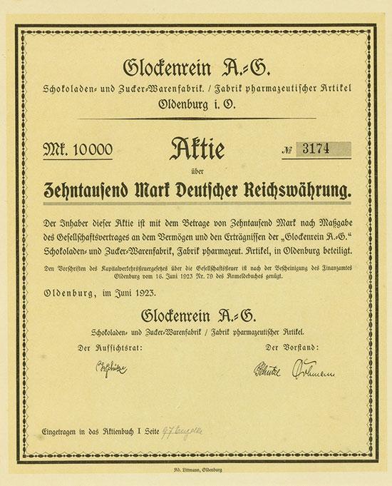 Glockenrein A.-G. Schokoladen- und Zucker-Warenfabrik / Fabrik pharmazeutischer Artikel