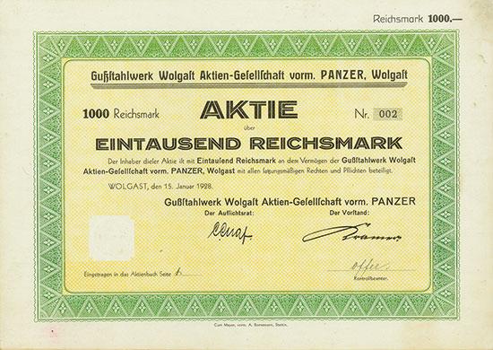 Gußstahlwerk Wolgast AG vorm. Panzer