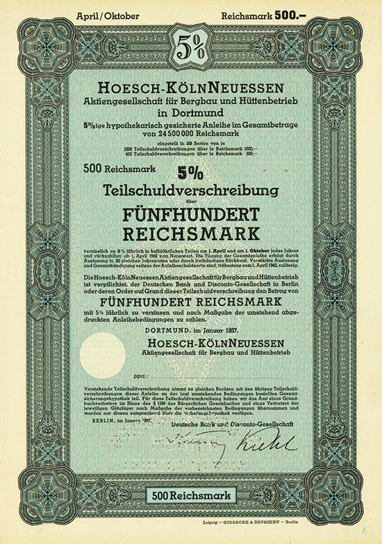 Hoesch-KölnNeuessen Aktiengesellschaft für Bergbau und Hüttenbetrieb