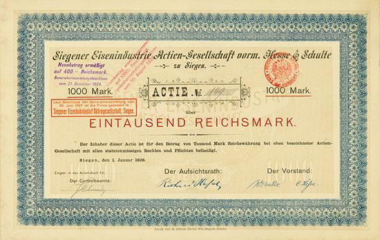 Siegener Eisenindustrie Actien-Gesellschaft vorm. Hesse & Schulte zu Siegen