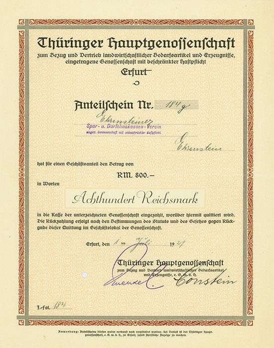 Thüringer Hauptgenossenschaft zum Bezug und Vertrieb landwirtschaftlicher Bedarfsartikel und Erzeugnisse, eGmbH