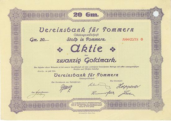 Vereinsbank für Pommern AG