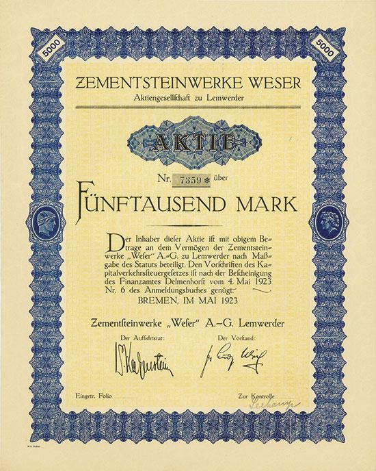 Zementsteinwerke Weser Aktiengesellschaft zu Lemwerder
