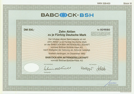 Babcock-BSH AG vormals Büttner-Schilde-Haas AG