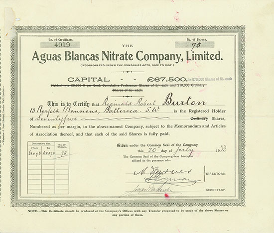 Aguas Blancas Nitrate Company, Limited