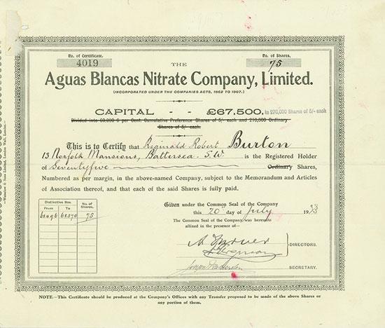 Aguas Blancas Nitrate Company, Limited